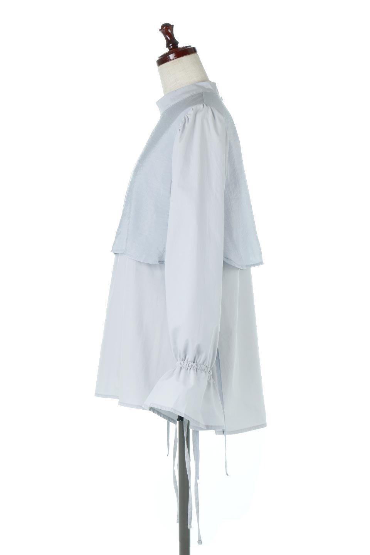 FauxLayeredCandySleeveBlouseシアーサテン・ドッキングブラウス大人カジュアルに最適な海外ファッションのothers(その他インポートアイテム)のトップスやシャツ・ブラウス。春らしい軽やかなシアー感のあるサテンをドッキングさせた長袖ブラウス。ニットベストとのドッキングブラウスよりも春夏向けのアイテム。/main-7