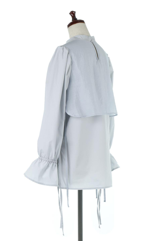 FauxLayeredCandySleeveBlouseシアーサテン・ドッキングブラウス大人カジュアルに最適な海外ファッションのothers(その他インポートアイテム)のトップスやシャツ・ブラウス。春らしい軽やかなシアー感のあるサテンをドッキングさせた長袖ブラウス。ニットベストとのドッキングブラウスよりも春夏向けのアイテム。/main-8