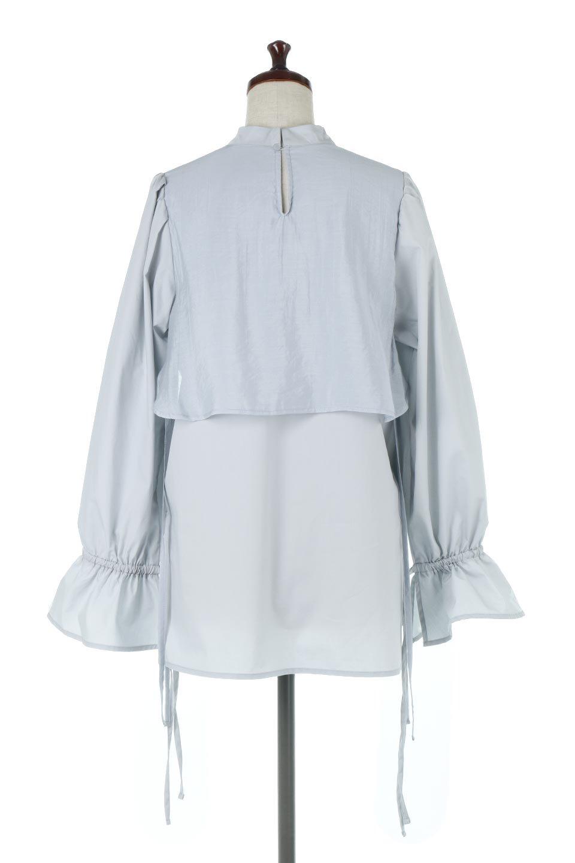 FauxLayeredCandySleeveBlouseシアーサテン・ドッキングブラウス大人カジュアルに最適な海外ファッションのothers(その他インポートアイテム)のトップスやシャツ・ブラウス。春らしい軽やかなシアー感のあるサテンをドッキングさせた長袖ブラウス。ニットベストとのドッキングブラウスよりも春夏向けのアイテム。/main-9
