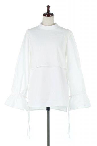 海外ファッションや大人カジュアルに最適なインポートセレクトアイテムのFaux Layered Candy Sleeve Blouse シアーサテン・ドッキングブラウス