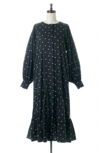 Volume Sleeve Dotted Long Dress ボリュームスリーブ・ドットワンピース / 大人カジュアルに最適な海外ファッションが得意な福島市のセレクトショップbloom