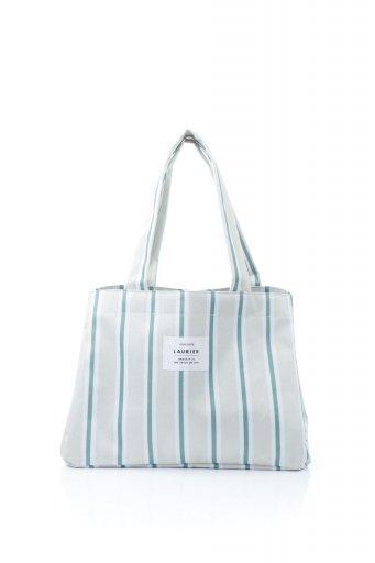 Folding Shopping Cooler Basket (Stripe) 保冷保温・折りたたみレジカゴエコバッグ(ストライプ・グレー) / 大人カジュアルに最適な海外ファッションが得意な福島市のセレクトショップbloom