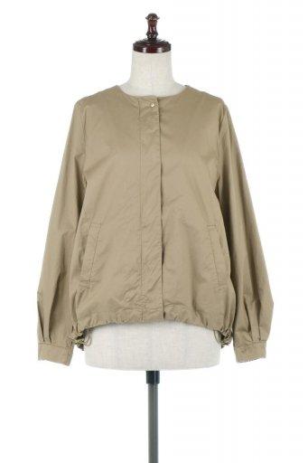 海外ファッションや大人カジュアルに最適なインポートセレクトアイテムのOver Sized Zip Up Collarless Jacket 高密度コットン・ドロストブルゾン