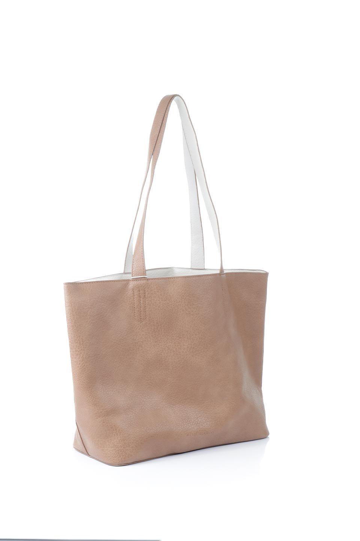 meliebiancoのDenise(Tan)ポーチ付き・リバーシブルトートバッグ/海外ファッション好きにオススメのインポートバッグとかばん、MelieBianco(メリービアンコ)のバッグやトートバッグ。シンプルなキャンバスポーチが付いたシンプルなトートバッグ。ソフトでなめらかなメリービアンコ独自のプレミアムビーガンレザーを使用。/main-3