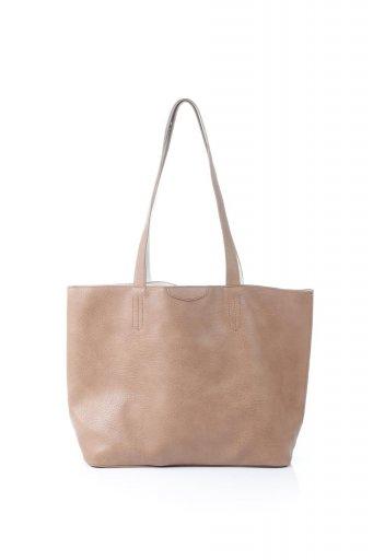 海外ファッションや大人カジュアルのためのインポートバッグ、かばんmelie bianco(メリービアンコ)のDenise (Tan) ポーチ付き・リバーシブルトートバッグ