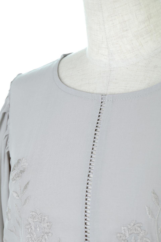 EmbroideredSatinBlouse刺繍入り・サテンブラウス大人カジュアルに最適な海外ファッションのothers(その他インポートアイテム)のトップスやシャツ・ブラウス。胸元のさりげない刺繍が可愛い7分袖のサテンブラウス。センターはしごレースを挟んでいるので高見えするアイテムです。/main-12