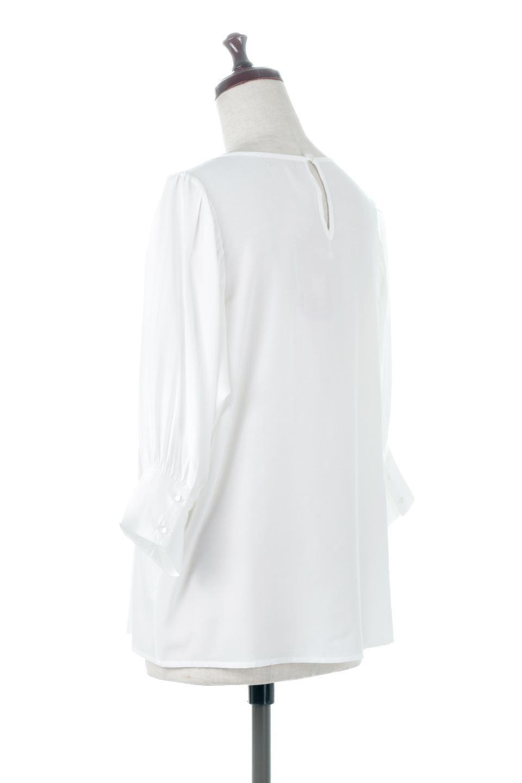 EmbroideredSatinBlouse刺繍入り・サテンブラウス大人カジュアルに最適な海外ファッションのothers(その他インポートアイテム)のトップスやシャツ・ブラウス。胸元のさりげない刺繍が可愛い7分袖のサテンブラウス。センターはしごレースを挟んでいるので高見えするアイテムです。/main-3