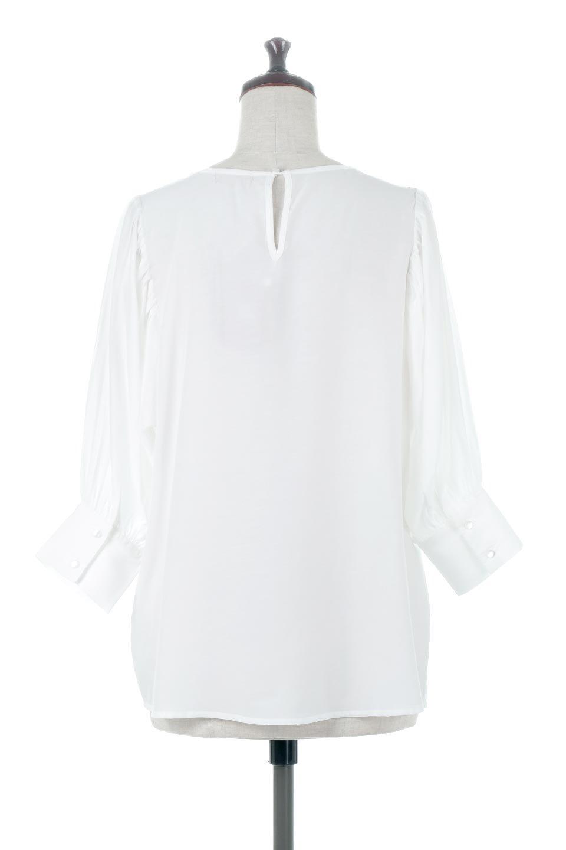EmbroideredSatinBlouse刺繍入り・サテンブラウス大人カジュアルに最適な海外ファッションのothers(その他インポートアイテム)のトップスやシャツ・ブラウス。胸元のさりげない刺繍が可愛い7分袖のサテンブラウス。センターはしごレースを挟んでいるので高見えするアイテムです。/main-4