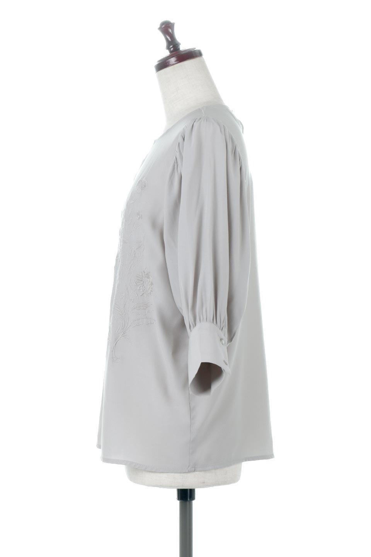 EmbroideredSatinBlouse刺繍入り・サテンブラウス大人カジュアルに最適な海外ファッションのothers(その他インポートアイテム)のトップスやシャツ・ブラウス。胸元のさりげない刺繍が可愛い7分袖のサテンブラウス。センターはしごレースを挟んでいるので高見えするアイテムです。/main-7