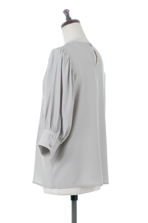 EmbroideredSatinBlouse刺繍入り・サテンブラウス大人カジュアルに最適な海外ファッションのothers(その他インポートアイテム)のトップスやシャツ・ブラウス。胸元のさりげない刺繍が可愛い7分袖のサテンブラウス。センターはしごレースを挟んでいるので高見えするアイテムです。/main-8
