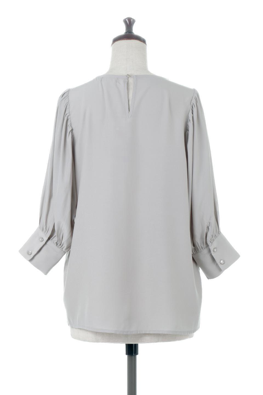 EmbroideredSatinBlouse刺繍入り・サテンブラウス大人カジュアルに最適な海外ファッションのothers(その他インポートアイテム)のトップスやシャツ・ブラウス。胸元のさりげない刺繍が可愛い7分袖のサテンブラウス。センターはしごレースを挟んでいるので高見えするアイテムです。/main-9