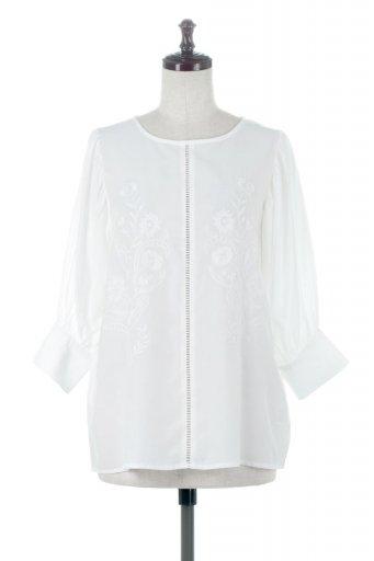 Embroidered Satin Blouse 刺繍入り・サテンブラウス / 大人カジュアルに最適な海外ファッションが得意な福島市のセレクトショップbloom