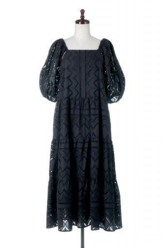 海外ファッションや大人カジュアルに最適なインポートセレクトアイテムのEyelet Lace Puff Sleeve Long Dress 2Wayアイレットレース・ティアードワンピース