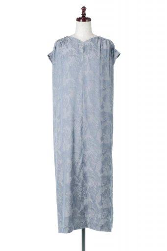海外ファッションや大人カジュアルに最適なインポートセレクトアイテムのLeaf Pattern Jacquard Dress リーフジャカード・2Wayワンピース