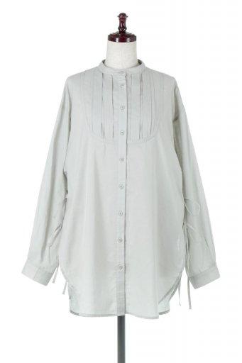 海外ファッションや大人カジュアルに最適なインポートセレクトアイテムのSide Lace Up Bosom Shirts スタンドカラー・ブザムシャツ