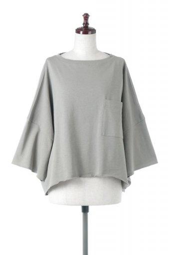 海外ファッションや大人カジュアルに最適なインポートセレクトアイテムのCut Off Half Sleeve Big Tee カットオフ加工・ショート丈トップス