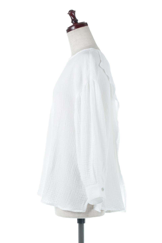 FrilledBackDoubleGauzeBlouseバックフリル・ダブルガーゼブラウス大人カジュアルに最適な海外ファッションのothers(その他インポートアイテム)のトップスやシャツ・ブラウス。フェミニンに決まるバックフリルがポイントのブラウス。綿100%のダブルガーゼの素材を使用してるのでとても柔らかく着心地も◎。/main-2