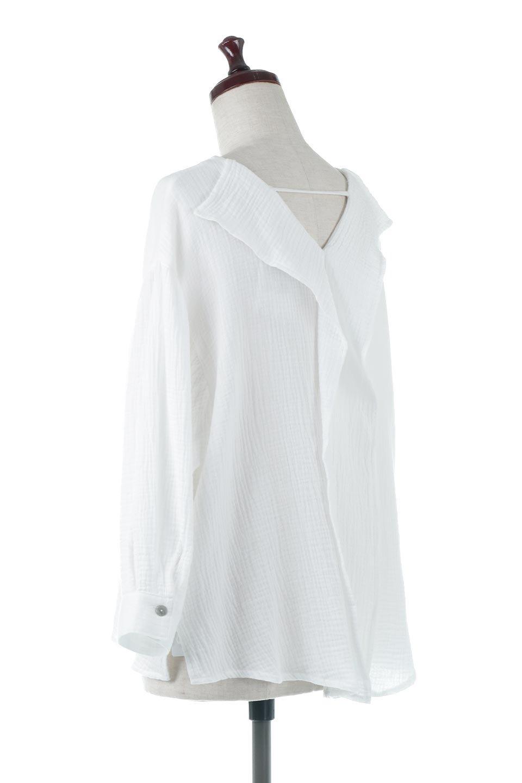 FrilledBackDoubleGauzeBlouseバックフリル・ダブルガーゼブラウス大人カジュアルに最適な海外ファッションのothers(その他インポートアイテム)のトップスやシャツ・ブラウス。フェミニンに決まるバックフリルがポイントのブラウス。綿100%のダブルガーゼの素材を使用してるのでとても柔らかく着心地も◎。/main-3
