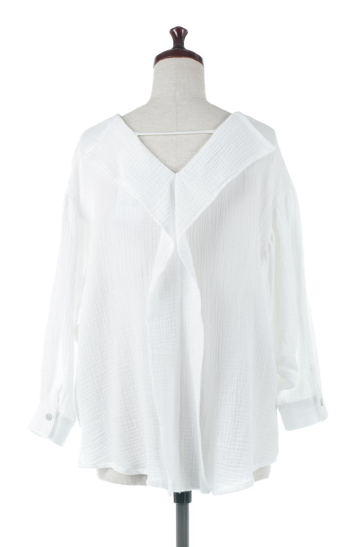 FrilledBackDoubleGauzeBlouseバックフリル・ダブルガーゼブラウス大人カジュアルに最適な海外ファッションのothers(その他インポートアイテム)のトップスやシャツ・ブラウス。フェミニンに決まるバックフリルがポイントのブラウス。綿100%のダブルガーゼの素材を使用してるのでとても柔らかく着心地も◎。/main-4