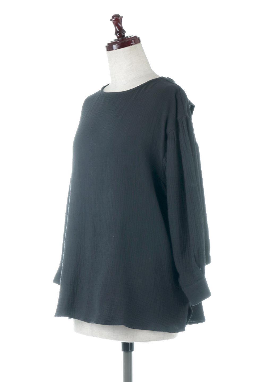 FrilledBackDoubleGauzeBlouseバックフリル・ダブルガーゼブラウス大人カジュアルに最適な海外ファッションのothers(その他インポートアイテム)のトップスやシャツ・ブラウス。フェミニンに決まるバックフリルがポイントのブラウス。綿100%のダブルガーゼの素材を使用してるのでとても柔らかく着心地も◎。/main-6