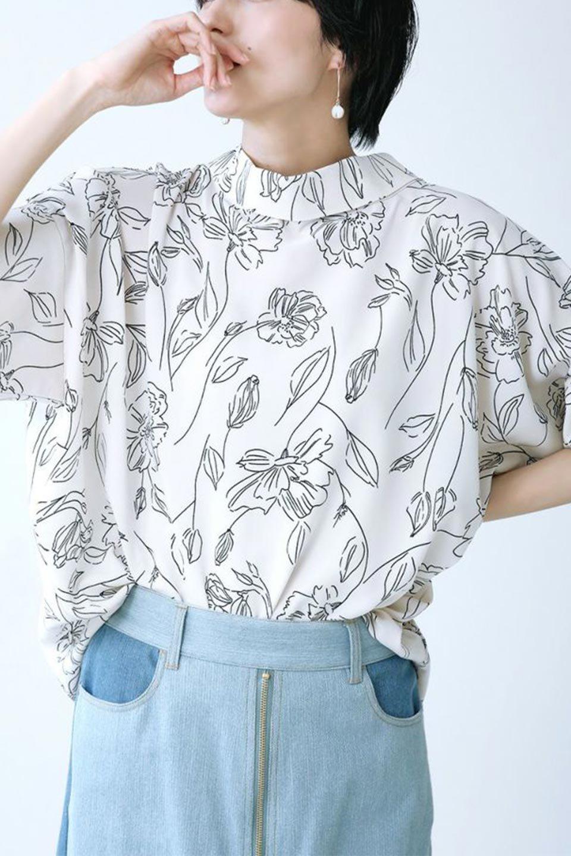 RollNeckBackButtonBlouseロールネック・ドルマンブラウス大人カジュアルに最適な海外ファッションのothers(その他インポートアイテム)のトップスやシャツ・ブラウス。ドルマンスリーブのドレープが綺麗で軽やかな着こなしができる半袖ブラウス。首元から背中にかけてのデザインがとても可愛いアイテムです。/main-37