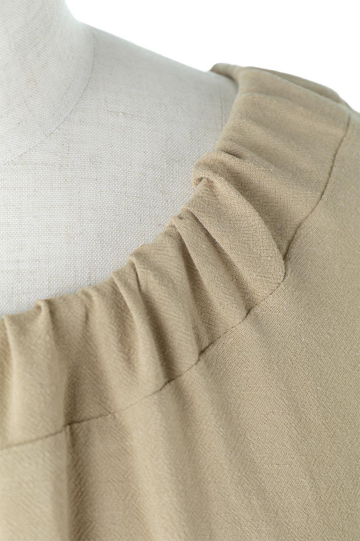 L.A.直輸入のLinenBlendDrawstringsDressリネン混・リボンギャザーワンピ大人カジュアルに最適な海外ファッションのothers(その他インポートアイテム)のワンピースやミディワンピース。コクーンシルエットのリボンギャザー・ワンピース。首元と袖口はリボンで調整が可能で、浅く広く開いたり、狭くしたりとネックラインを変えると雰囲気も変わります。/main-8