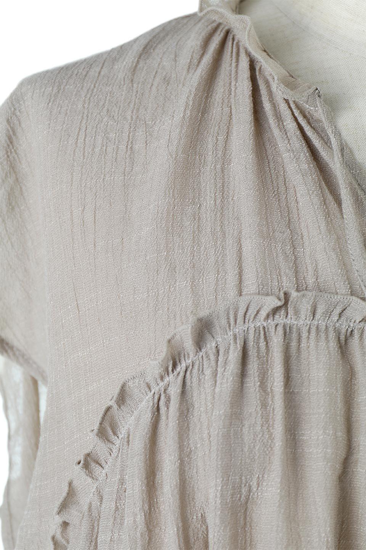 FrenchSleeveGatheredBlouseフレンチスリーブ・ギャザーブラウス大人カジュアルに最適な海外ファッションのothers(その他インポートアイテム)のトップスやシャツ・ブラウス。サラリとした肌触りが心地よいフレンチスリーブのブラウス。シワが気にならないスラブガーゼを使用したアイテムです。/main-18