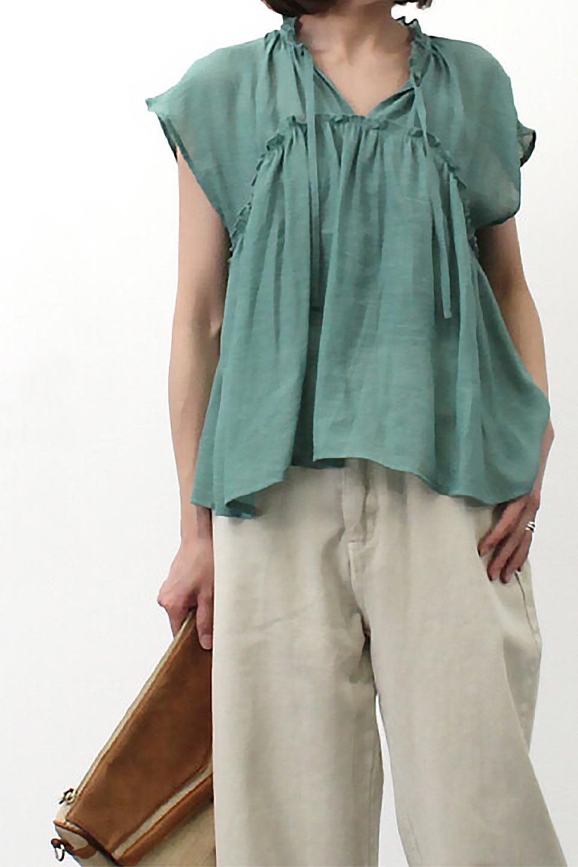 FrenchSleeveGatheredBlouseフレンチスリーブ・ギャザーブラウス大人カジュアルに最適な海外ファッションのothers(その他インポートアイテム)のトップスやシャツ・ブラウス。サラリとした肌触りが心地よいフレンチスリーブのブラウス。シワが気にならないスラブガーゼを使用したアイテムです。/main-24