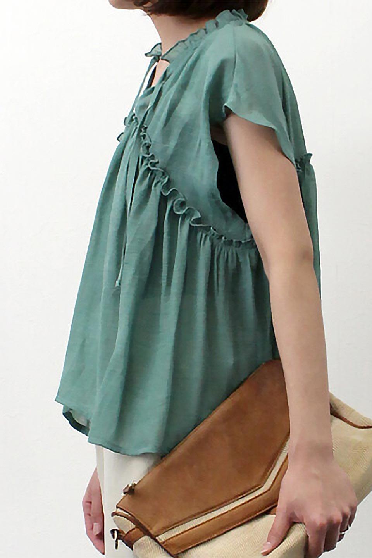 FrenchSleeveGatheredBlouseフレンチスリーブ・ギャザーブラウス大人カジュアルに最適な海外ファッションのothers(その他インポートアイテム)のトップスやシャツ・ブラウス。サラリとした肌触りが心地よいフレンチスリーブのブラウス。シワが気にならないスラブガーゼを使用したアイテムです。/main-25