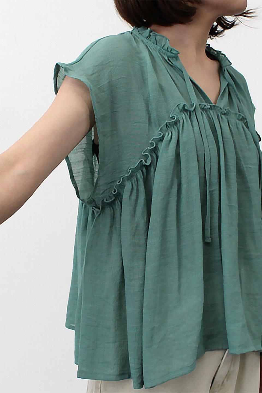 FrenchSleeveGatheredBlouseフレンチスリーブ・ギャザーブラウス大人カジュアルに最適な海外ファッションのothers(その他インポートアイテム)のトップスやシャツ・ブラウス。サラリとした肌触りが心地よいフレンチスリーブのブラウス。シワが気にならないスラブガーゼを使用したアイテムです。/main-26