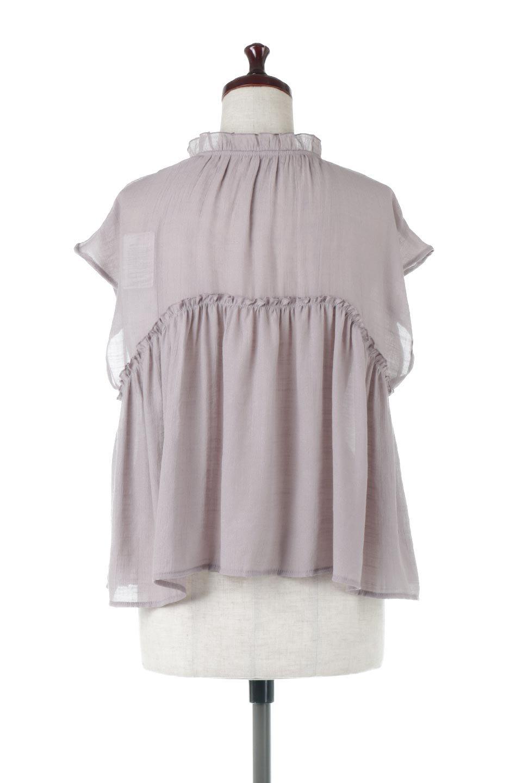 FrenchSleeveGatheredBlouseフレンチスリーブ・ギャザーブラウス大人カジュアルに最適な海外ファッションのothers(その他インポートアイテム)のトップスやシャツ・ブラウス。サラリとした肌触りが心地よいフレンチスリーブのブラウス。シワが気にならないスラブガーゼを使用したアイテムです。/main-4