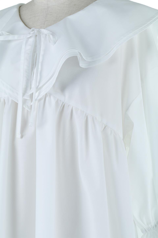 CandySleeveLargeCollarBlouseビッグカラー・キャンディースリーブブラウス大人カジュアルに最適な海外ファッションのothers(その他インポートアイテム)のトップスやシャツ・ブラウス。今季注目の大きな襟が特徴の7分袖ブラウスです。肩にかかるかかからないかの大きな襟が印象的で、ガーリーなイメージを作ります。/main-14