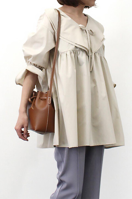 CandySleeveLargeCollarBlouseビッグカラー・キャンディースリーブブラウス大人カジュアルに最適な海外ファッションのothers(その他インポートアイテム)のトップスやシャツ・ブラウス。今季注目の大きな襟が特徴の7分袖ブラウスです。肩にかかるかかからないかの大きな襟が印象的で、ガーリーなイメージを作ります。/main-18