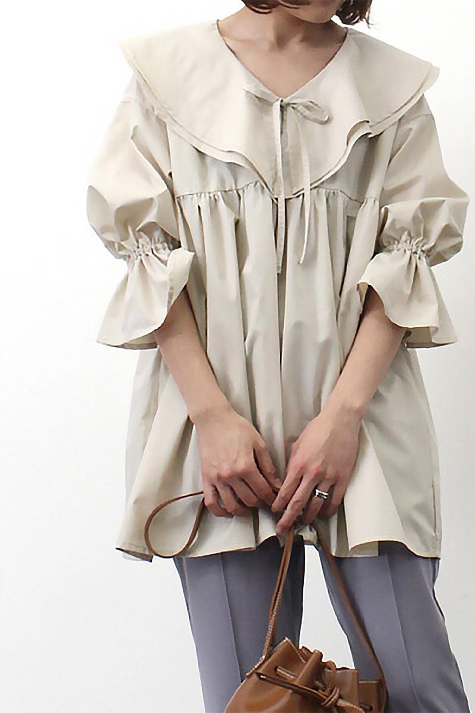 CandySleeveLargeCollarBlouseビッグカラー・キャンディースリーブブラウス大人カジュアルに最適な海外ファッションのothers(その他インポートアイテム)のトップスやシャツ・ブラウス。今季注目の大きな襟が特徴の7分袖ブラウスです。肩にかかるかかからないかの大きな襟が印象的で、ガーリーなイメージを作ります。/main-21