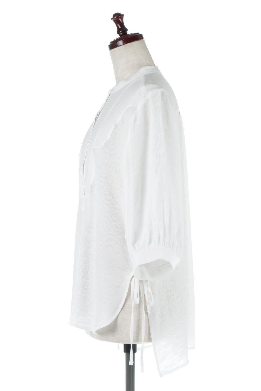 SideTiedBosomBlouseブザムデザイン・サイドリボンブラウス大人カジュアルに最適な海外ファッションのothers(その他インポートアイテム)のトップスやシャツ・ブラウス。サラテロ素材で肌触り抜群のブザムデザインのブラウス。サイドに大胆に入ったスリットには2か所のリボンで可愛さアップ。/main-2