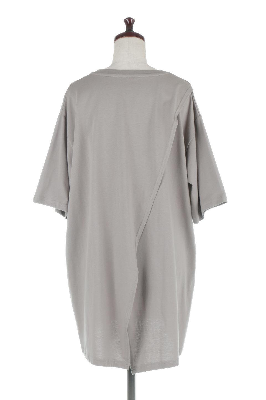 BackSlitLongTailTopバックスリット・ロングTシャツ大人カジュアルに最適な海外ファッションのothers(その他インポートアイテム)のトップスやカットソー。バックスタイルがポイントのビッグシルエットTシャツ。フロントはクルーネックのシンプルでリラックス感のあるTシャツに見えますが、背中はスリットが入ったラップデザイン。/main-14
