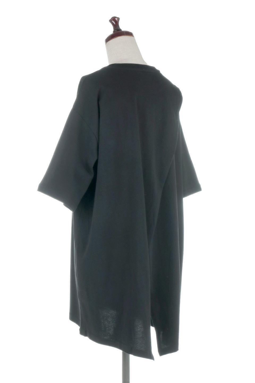 BackSlitLongTailTopバックスリット・ロングTシャツ大人カジュアルに最適な海外ファッションのothers(その他インポートアイテム)のトップスやカットソー。バックスタイルがポイントのビッグシルエットTシャツ。フロントはクルーネックのシンプルでリラックス感のあるTシャツに見えますが、背中はスリットが入ったラップデザイン。/main-18