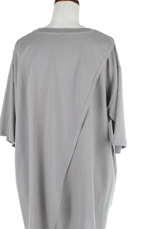 BackSlitLongTailTopバックスリット・ロングTシャツ大人カジュアルに最適な海外ファッションのothers(その他インポートアイテム)のトップスやカットソー。バックスタイルがポイントのビッグシルエットTシャツ。フロントはクルーネックのシンプルでリラックス感のあるTシャツに見えますが、背中はスリットが入ったラップデザイン。/main-22