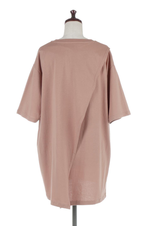 BackSlitLongTailTopバックスリット・ロングTシャツ大人カジュアルに最適な海外ファッションのothers(その他インポートアイテム)のトップスやカットソー。バックスタイルがポイントのビッグシルエットTシャツ。フロントはクルーネックのシンプルでリラックス感のあるTシャツに見えますが、背中はスリットが入ったラップデザイン。/main-4