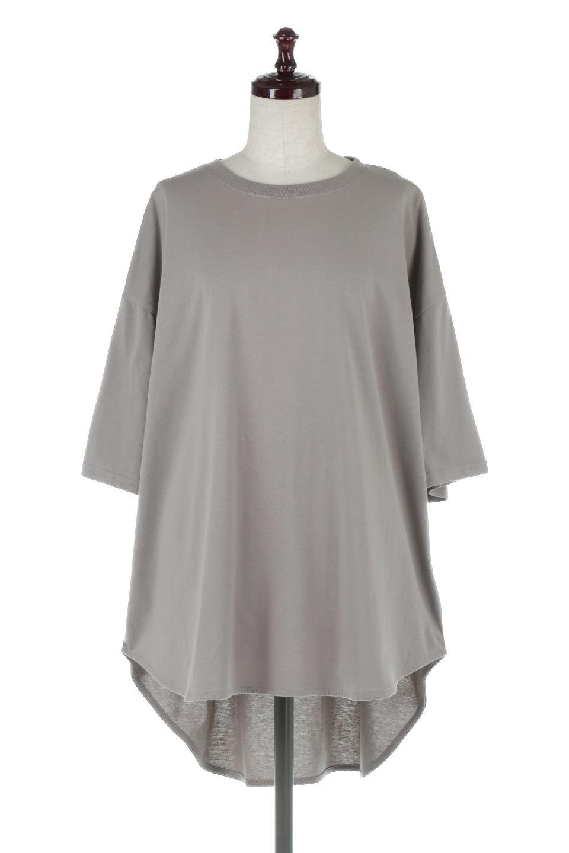 RoundHemBigSilhouetteTeeビッグシルエット・ラウンドTシャツ大人カジュアルに最適な海外ファッションのothers(その他インポートアイテム)のトップスやカットソー。ボディラインと裾に丸みを持たせたデザインのロングTシャツ。ドロップショルダーでルーズでリラックス感あふれるシルエットを作ります。/main-10