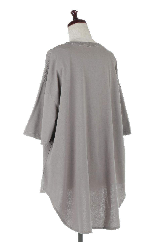 RoundHemBigSilhouetteTeeビッグシルエット・ラウンドTシャツ大人カジュアルに最適な海外ファッションのothers(その他インポートアイテム)のトップスやカットソー。ボディラインと裾に丸みを持たせたデザインのロングTシャツ。ドロップショルダーでルーズでリラックス感あふれるシルエットを作ります。/main-13