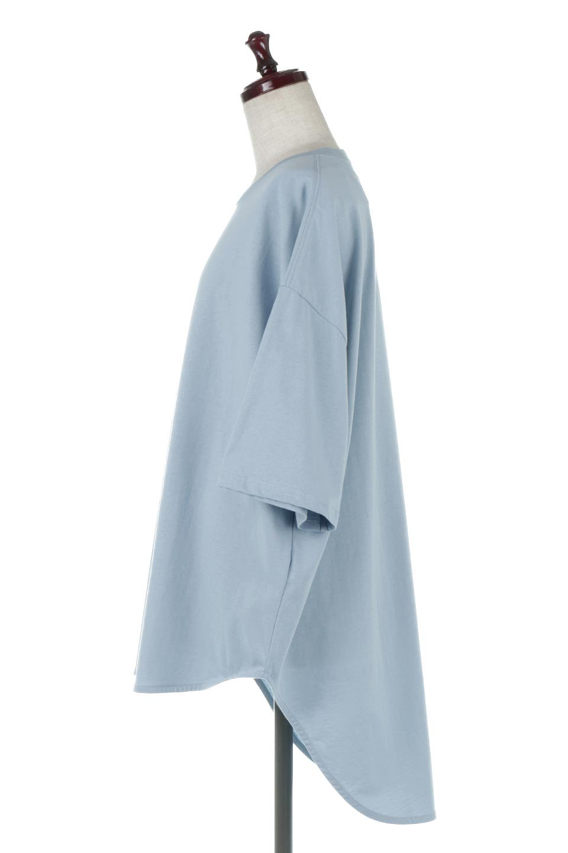 RoundHemBigSilhouetteTeeビッグシルエット・ラウンドTシャツ大人カジュアルに最適な海外ファッションのothers(その他インポートアイテム)のトップスやカットソー。ボディラインと裾に丸みを持たせたデザインのロングTシャツ。ドロップショルダーでルーズでリラックス感あふれるシルエットを作ります。/main-2