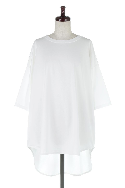 RoundHemBigSilhouetteTeeビッグシルエット・ラウンドTシャツ大人カジュアルに最適な海外ファッションのothers(その他インポートアイテム)のトップスやカットソー。ボディラインと裾に丸みを持たせたデザインのロングTシャツ。ドロップショルダーでルーズでリラックス感あふれるシルエットを作ります。/main-5