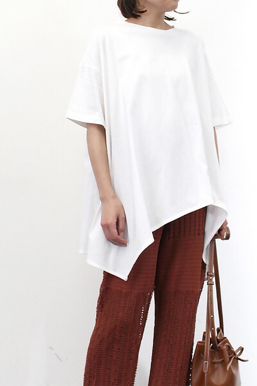 AsymmetricalHemBigTeeアシメントリー・ビッグシルエットTシャツ大人カジュアルに最適な海外ファッションのothers(その他インポートアイテム)のトップスやカットソー。斜めにカットされたアシメントリーの裾がポイントのビッグTee。ゆったりとしたリラックス感のあるシルエットで、ややAラインのシルエットが可愛いアイテム。/main-22