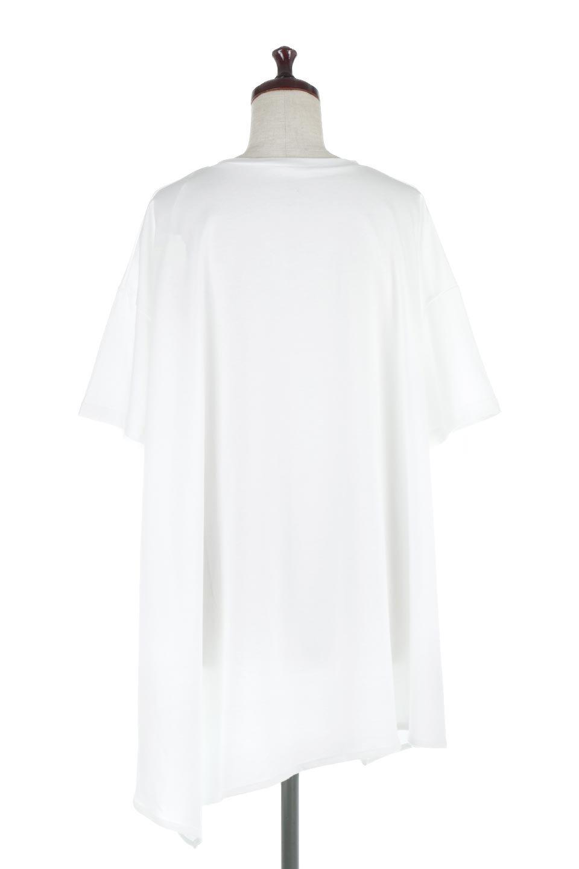 AsymmetricalHemBigTeeアシメントリー・ビッグシルエットTシャツ大人カジュアルに最適な海外ファッションのothers(その他インポートアイテム)のトップスやカットソー。斜めにカットされたアシメントリーの裾がポイントのビッグTee。ゆったりとしたリラックス感のあるシルエットで、ややAラインのシルエットが可愛いアイテム。/main-4