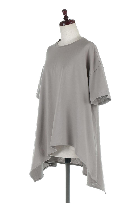 AsymmetricalHemBigTeeアシメントリー・ビッグシルエットTシャツ大人カジュアルに最適な海外ファッションのothers(その他インポートアイテム)のトップスやカットソー。斜めにカットされたアシメントリーの裾がポイントのビッグTee。ゆったりとしたリラックス感のあるシルエットで、ややAラインのシルエットが可愛いアイテム。/main-6