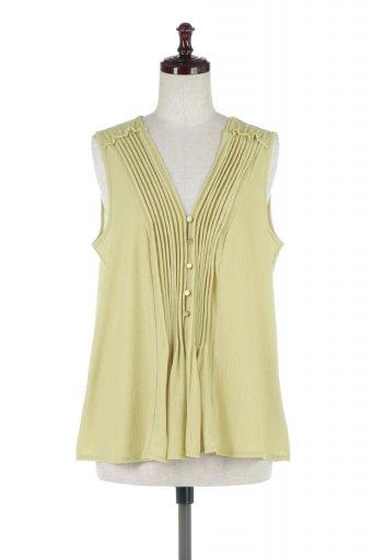 海外ファッションや大人カジュアルに最適なインポートセレクトアイテムのPin Tuck Sleeveless Blouse ピンタック・ノースリーブトップス