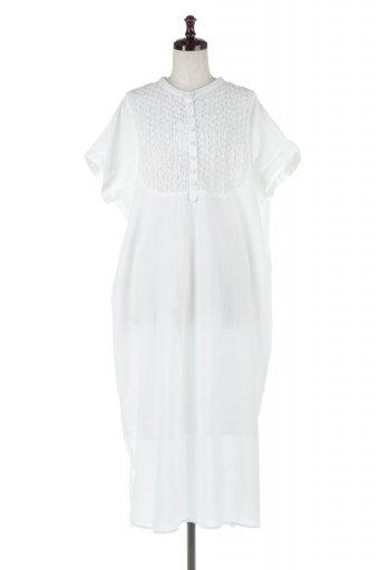 海外ファッションや大人カジュアルに最適なインポートセレクトアイテムのIndian Cotton Smocking Long Dress インド綿使用・スモッキングワンピース