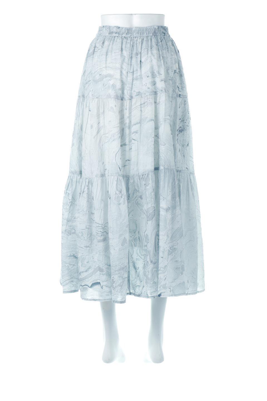 MarblePatternTieredLongSkirtマーブルパターン・ティアードスカート大人カジュアルに最適な海外ファッションのothers(その他インポートアイテム)のボトムやスカート。マーブル模様が涼し気なギャザーをたっぷりよせた3段ティアードスカート。動くたびに揺れるシルエットが涼し気な印象のスカートです。/main-4