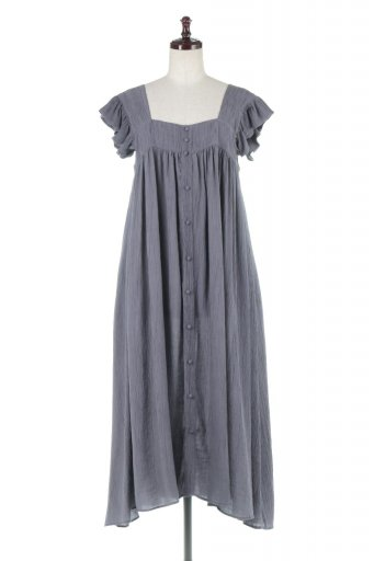 Square Neck Frill Sleeve Dress スクエアネック・フリルスリーブドレス / 大人カジュアルに最適な海外ファッションが得意な福島市のセレクトショップbloom